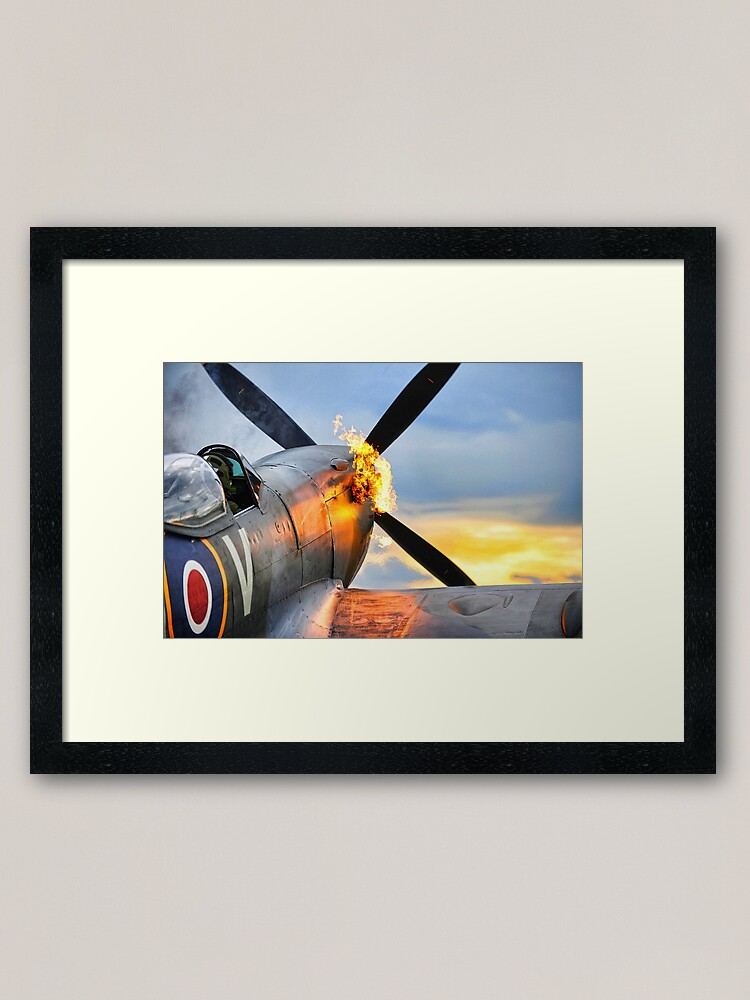 Alternate view of Spitfire airplane of the RAF doing a firy hot start showing flames Framed Art Print