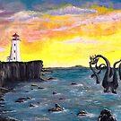 Kraken by the Lighthouse by dabblerscorner
