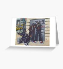 3 Heroes and a Boombox Greeting Card