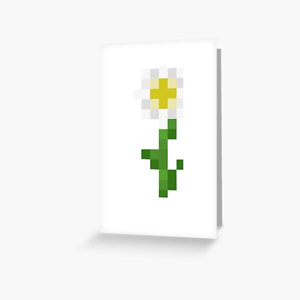 White Minecraft Flower Greeting Card
