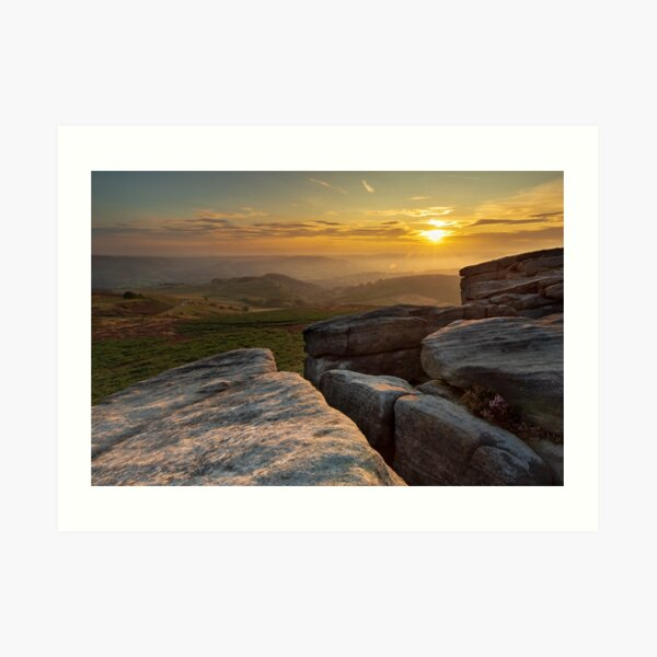 Hathersage Moor and Higger Tor sunset   Peak District   Canvas prints Art Print