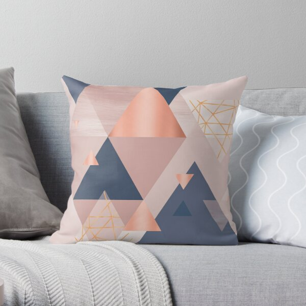 Pink Blue Copper Geometric Throw Pillow