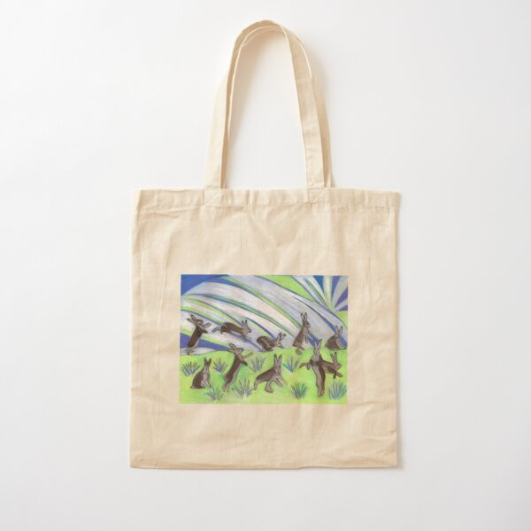 Ten Leaping Hares Cotton Tote Bag