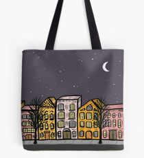 Cute Night City Street Buildings Tote Bag