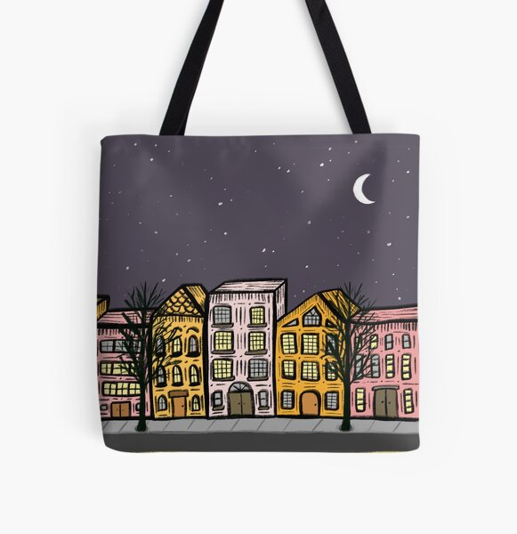 Cute Night City Street Buildings All Over Print Tote Bag