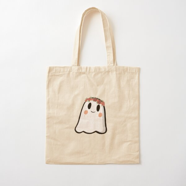 Flower crown ghost Cotton Tote Bag