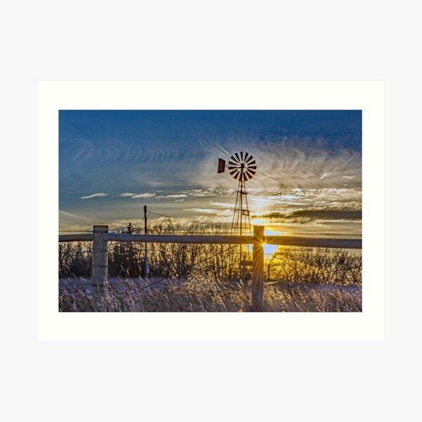 Sunset Sky and Windmill Art Print