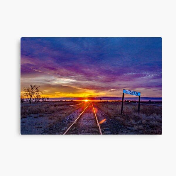 Railroad Tracks and Old Noonan Sign Canvas Print