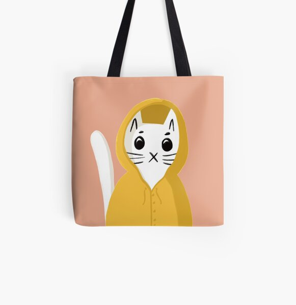 Kitty Cat in a Raincoat All Over Print Tote Bag