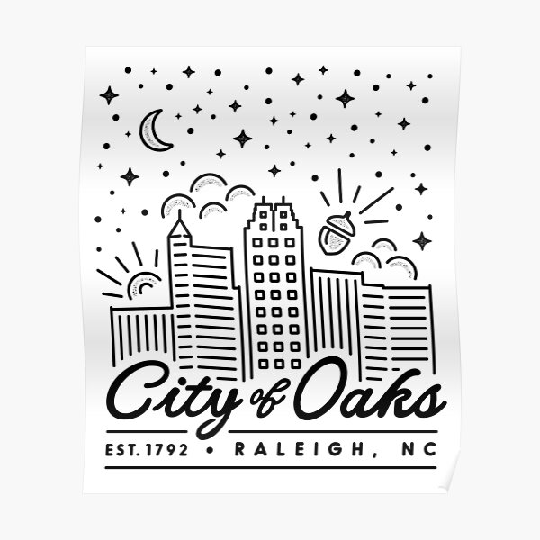 Raleigh: City of Oaks Merchandise Poster