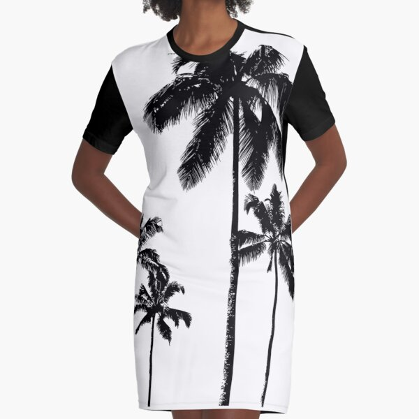 Tropical palms in monochrome Graphic T-Shirt Dress