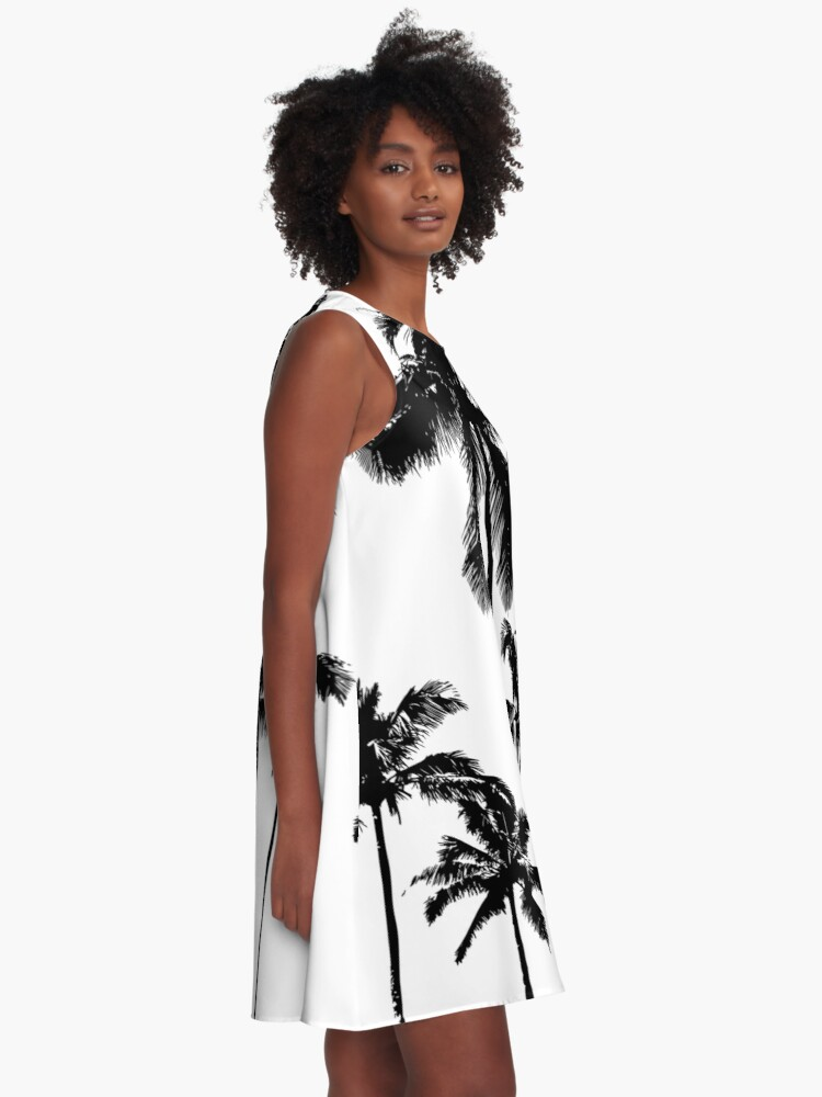Alternate view of Tropical palms in monochrome A-Line Dress