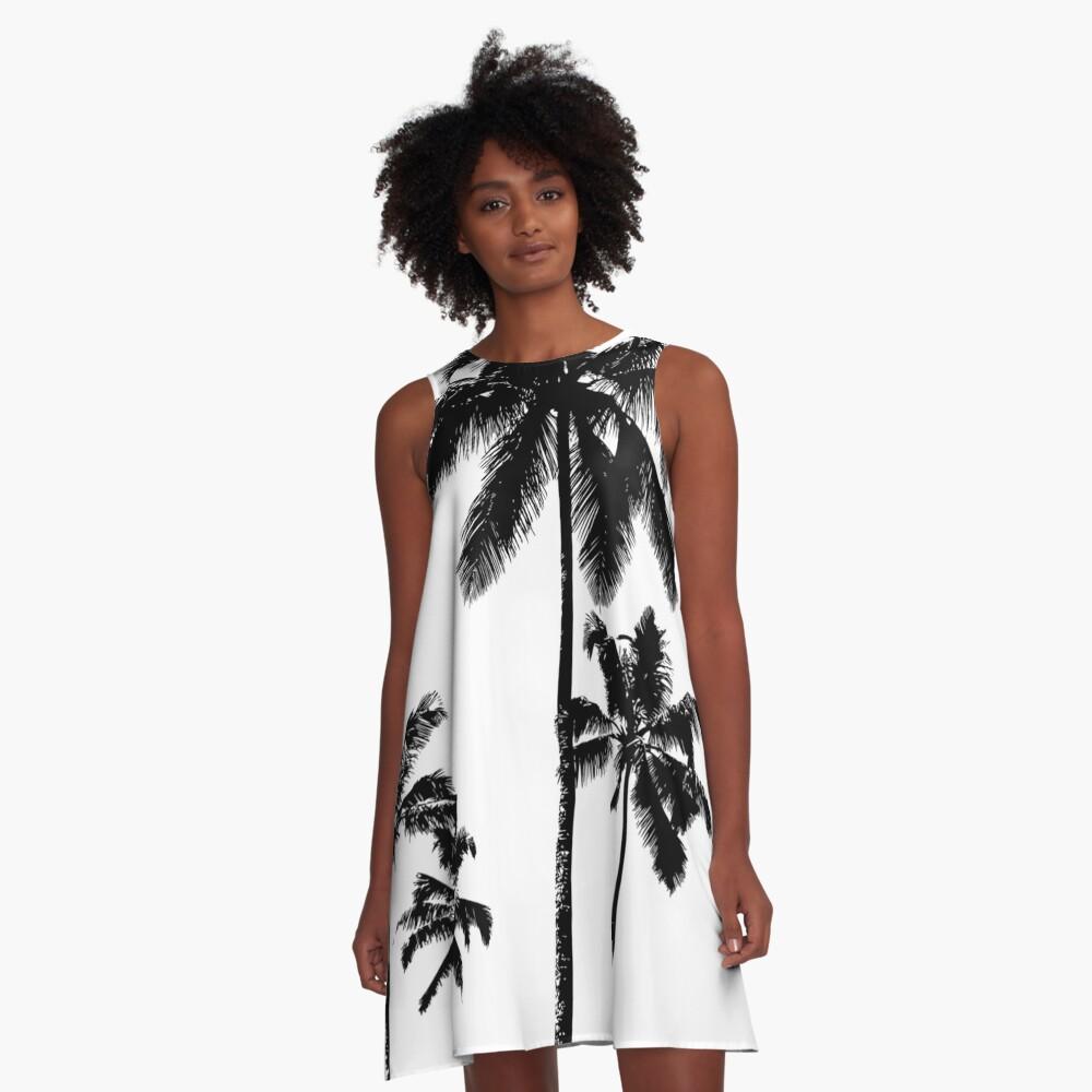 Tropical palms in monochrome A-Line Dress