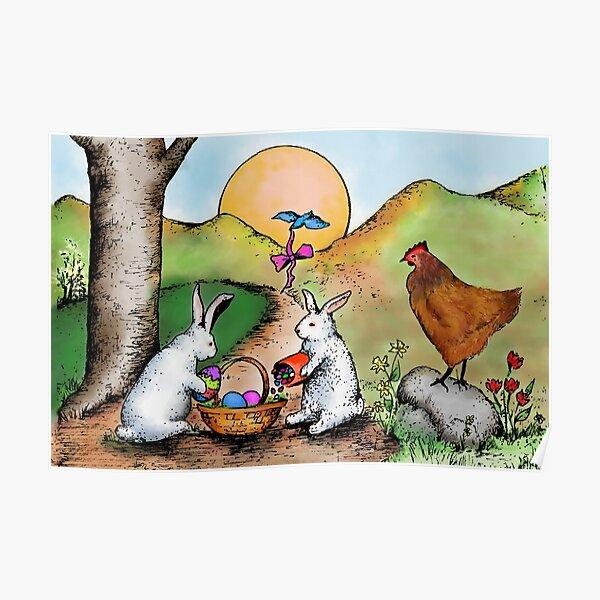 Easter Basket Vintage Illustration Poster