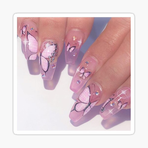 Pink butterfly nails  Sticker