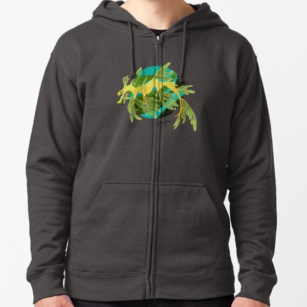 Leafy Sea Dragon Print Zipped Hoodie
