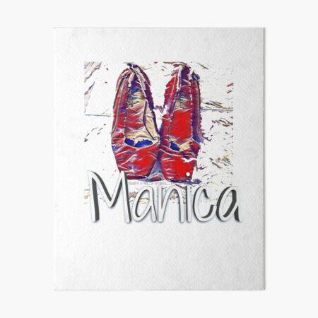 Manica Ruby Red Pumps  clinton in blue dress  Art Board Print