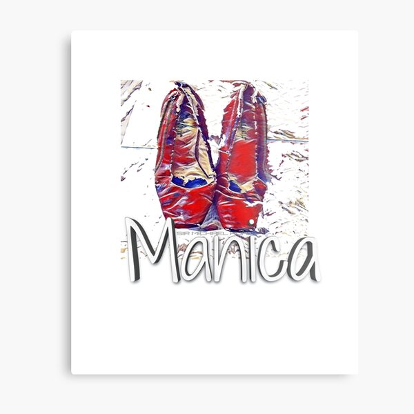 Manica Ruby Red Pumps  clinton in blue dress  Metal Print
