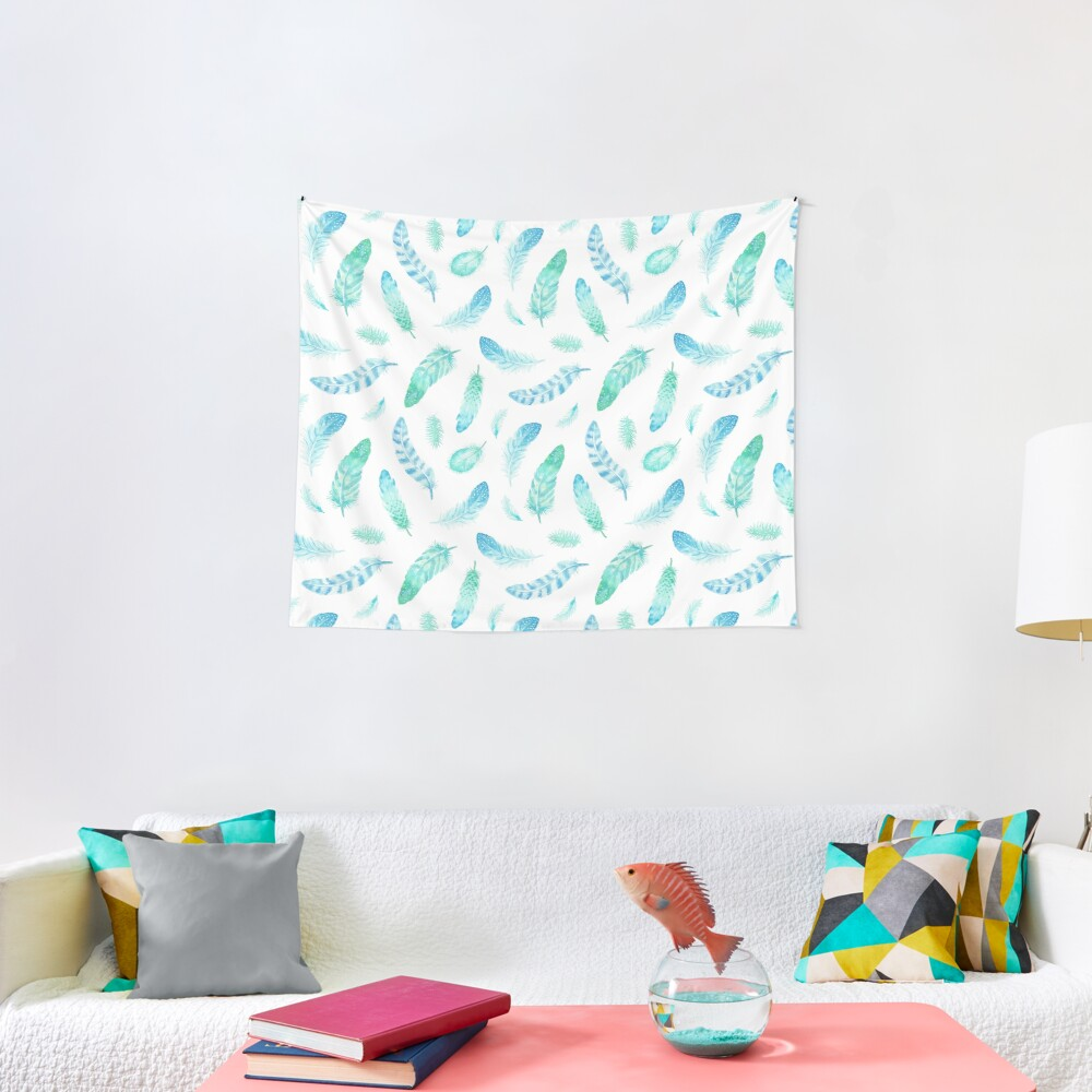 Watercolor Feathers Tapestry