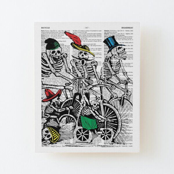 Calavera Cyclists | Day of the Dead | Dia de los Muertos | Skulls and Skeletons | Vintage Skeletons | Wood Mounted Print