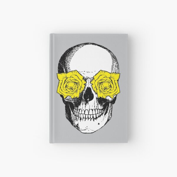 Skull and Roses | Skull and Flowers | Skulls and Skeletons | Vintage Skulls | Grey and Yellow |  Hardcover Journal