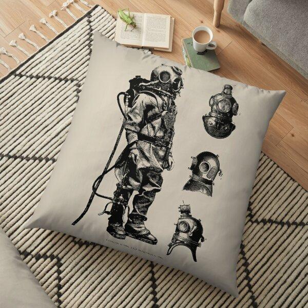 Vintage Deep Sea Diver   Nautical    Floor Pillow
