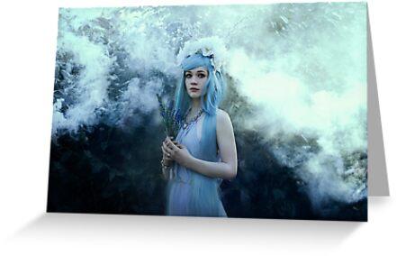 Mystic girl blue hair smoke fantasy elves by Liancary