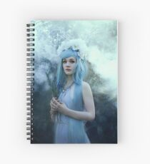 Mystic girl blue hair smoke fantasy elves Spiral Notebook
