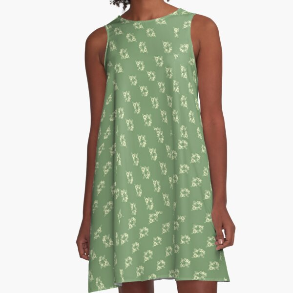 Canal flowers on pale green pattern A-Line Dress