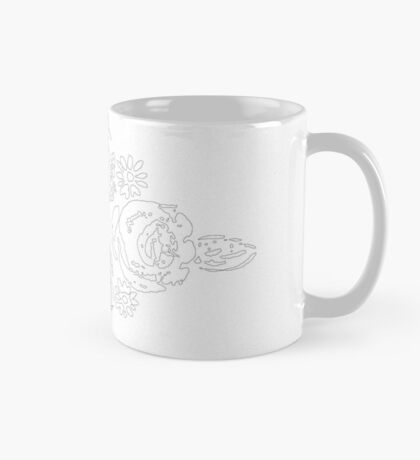 Canal flowers black & white sketch Mug