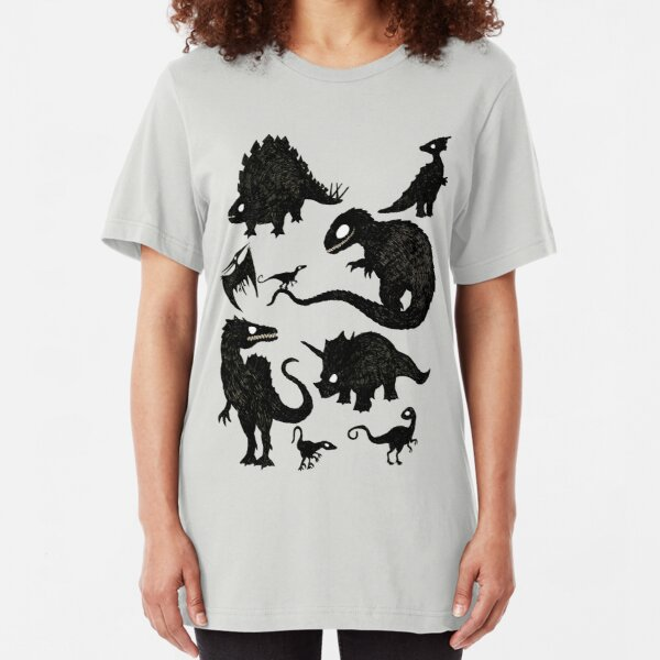 Silhouetted Dinosaurs Slim Fit T-Shirt