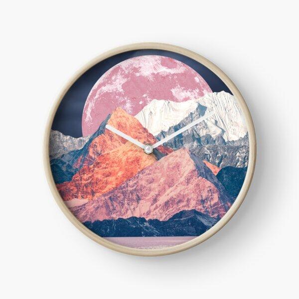 Pink Moon Rising Clock