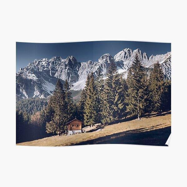 Kaiser - idyllic mountain landscape with mountain hut on the Wilder Kaiser Poster