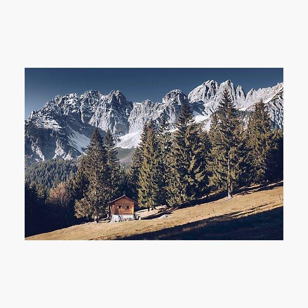 Kaiser - idyllic mountain landscape with mountain hut on the Wilder Kaiser Photographic Print