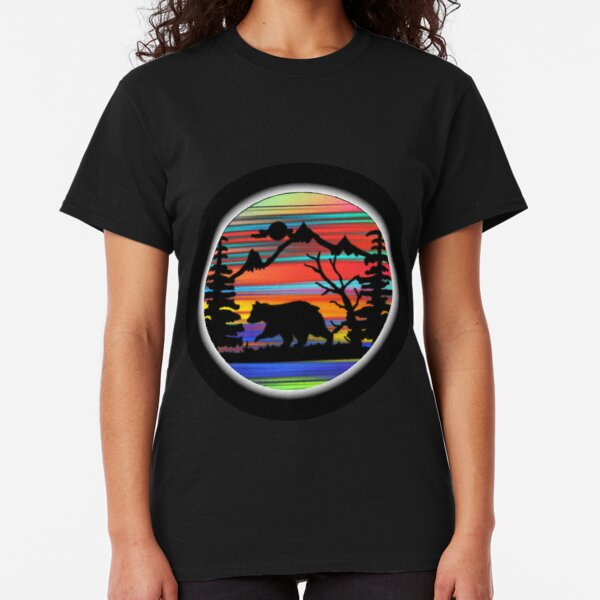 Bear Forest Mountain Rainbow Color Adventure Classic T-Shirt