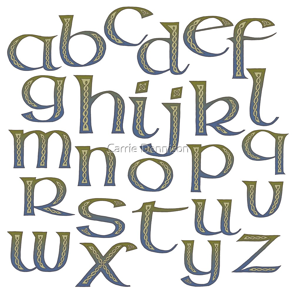Celtic Knotwork Half Uncial Alphabet Abecedary by Carrie Dennison