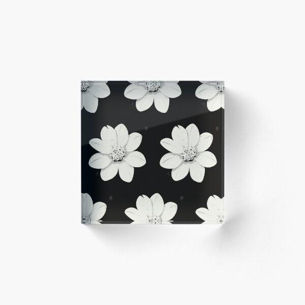 Weiß und Schwarz Blumen Acrylblock