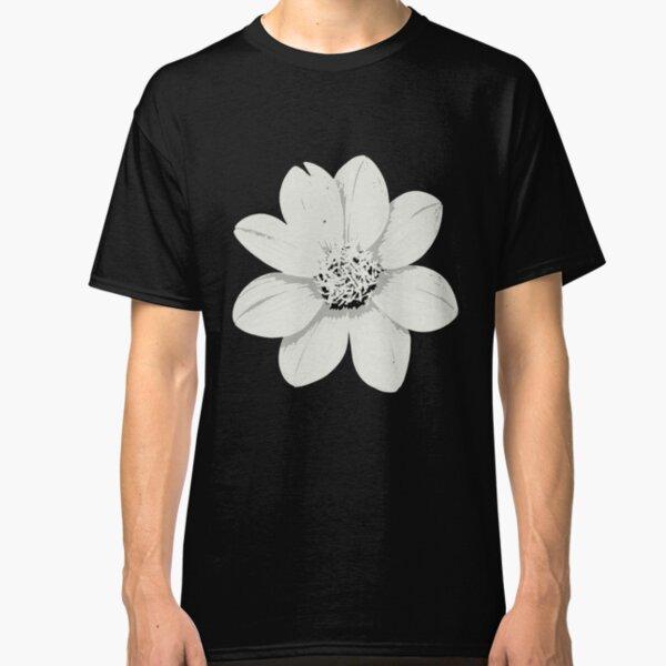 Weiß und Schwarz Blumen Classic T-Shirt