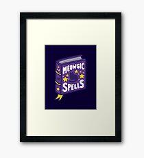 Meowgic Spells Book in Dark Purple Framed Print