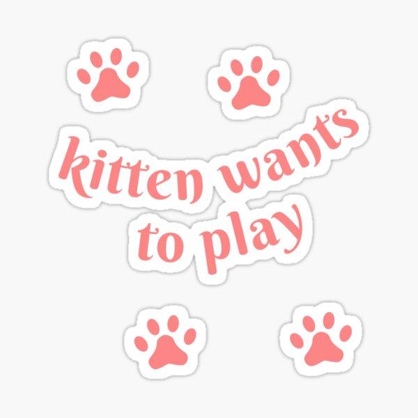Kitten Wants To Play Cute Pink Cat Paw Prints Sticker