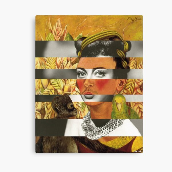 F.K. Self Portrait with Parrot & Joan Crawford Canvas Print