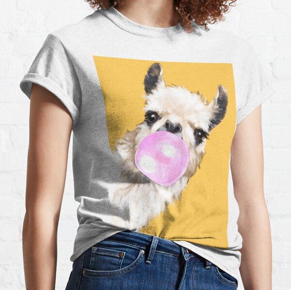 Bubble Gum Sneaky Llama in Mustard Yellow Classic T-Shirt