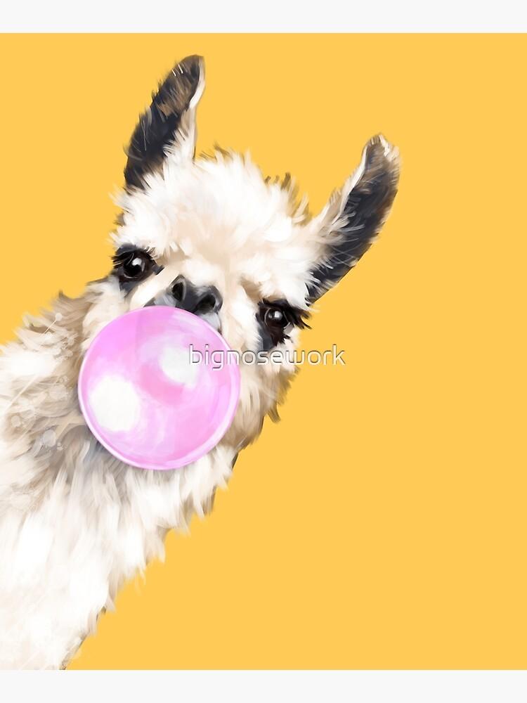 Bubble Gum Sneaky Llama in Mustard Yellow by bignosework
