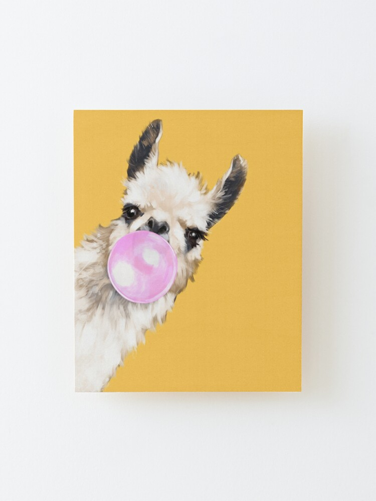 Alternate view of Bubble Gum Sneaky Llama in Mustard Yellow Mounted Print