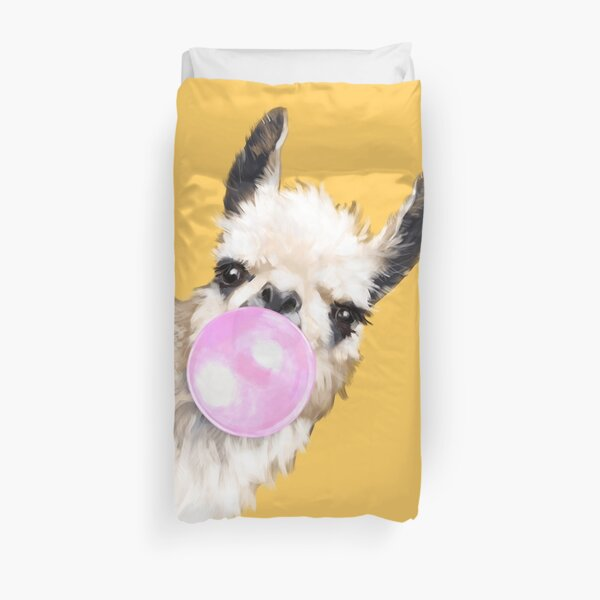Bubble Gum Sneaky Llama in Mustard Yellow Duvet Cover