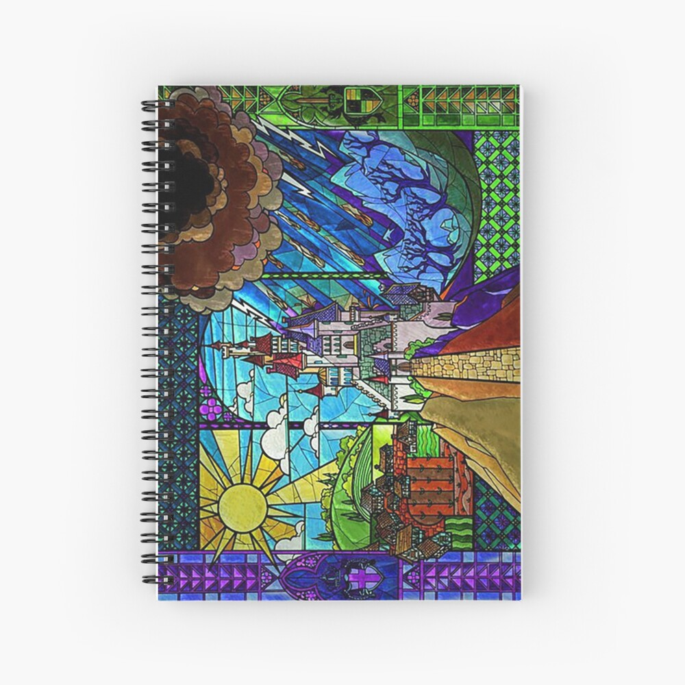 Beauty and the Beast-- stained glass castle (sideways) Spiral Notebook