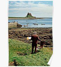 Artist at Lindisfarne (Holy Island), Northumberland, England, UK. Poster