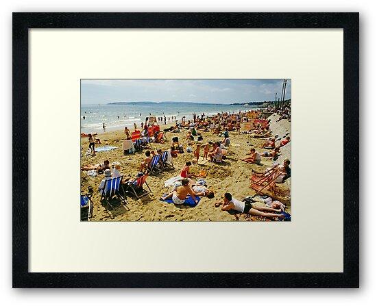 A busy Bournemouth beach (2), England, 1980s by David A. L. Davies
