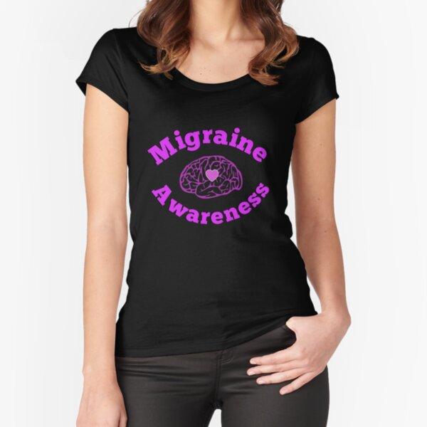 Migraine Headache Brain Awareness Design Fitted Scoop T-Shirt