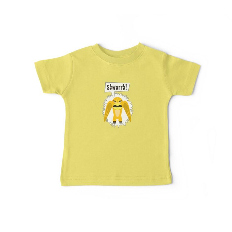 Noisy Little Terrors - 'Skwarrk!' cartoon monster T-shirt by one-in-the-eye